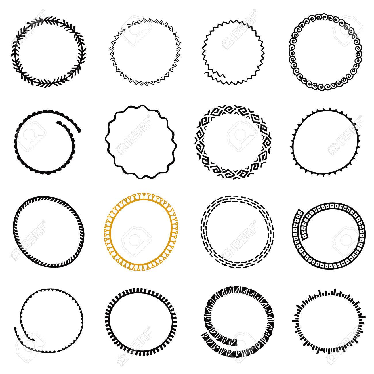 Hand Drawn Round Logo Frames Set. Collection Of Ethnic Stylized ...