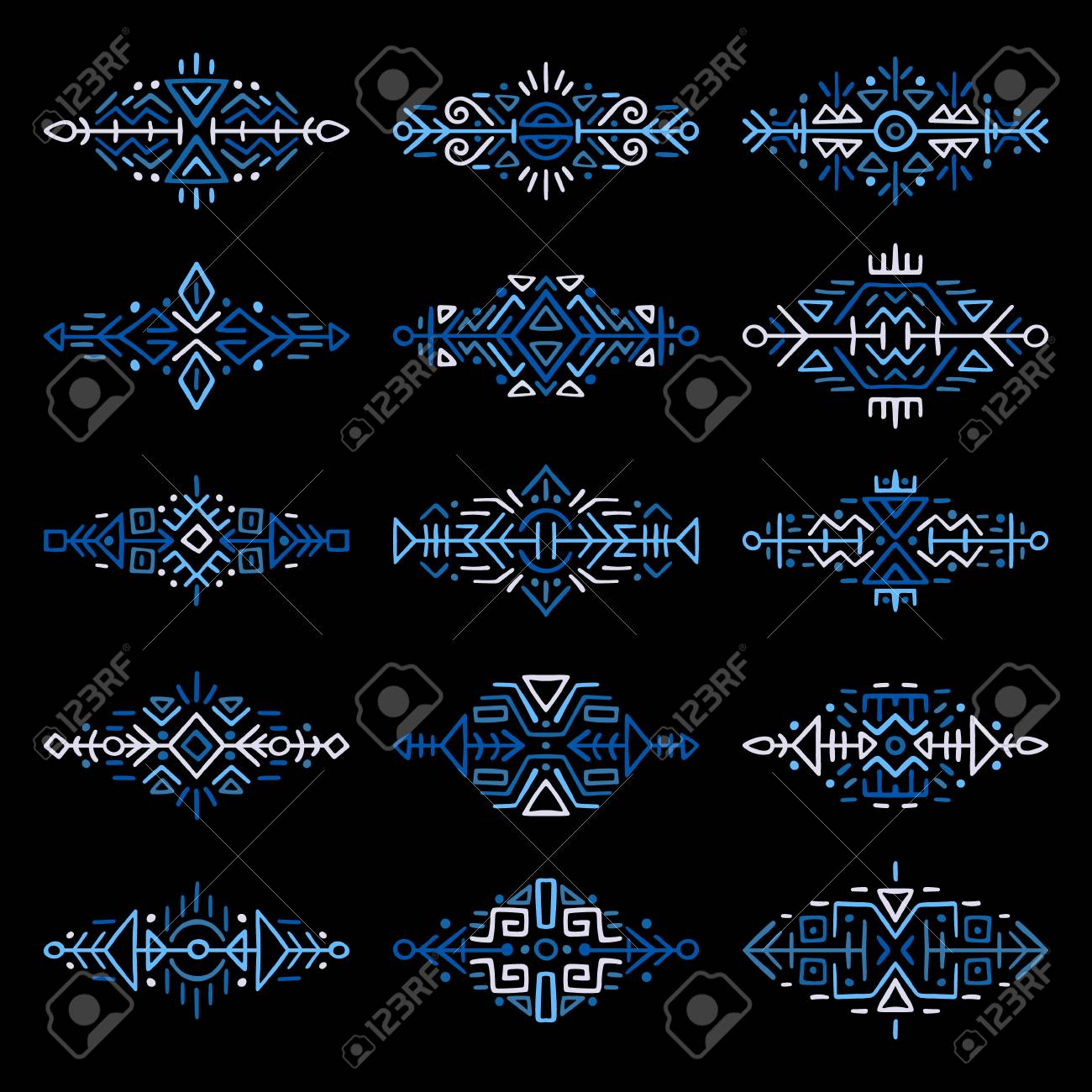 746368e9463d3 Collection of Hand Drawn Borders in Ethnic Style. Aztec art dividers.  Trendy boho separators