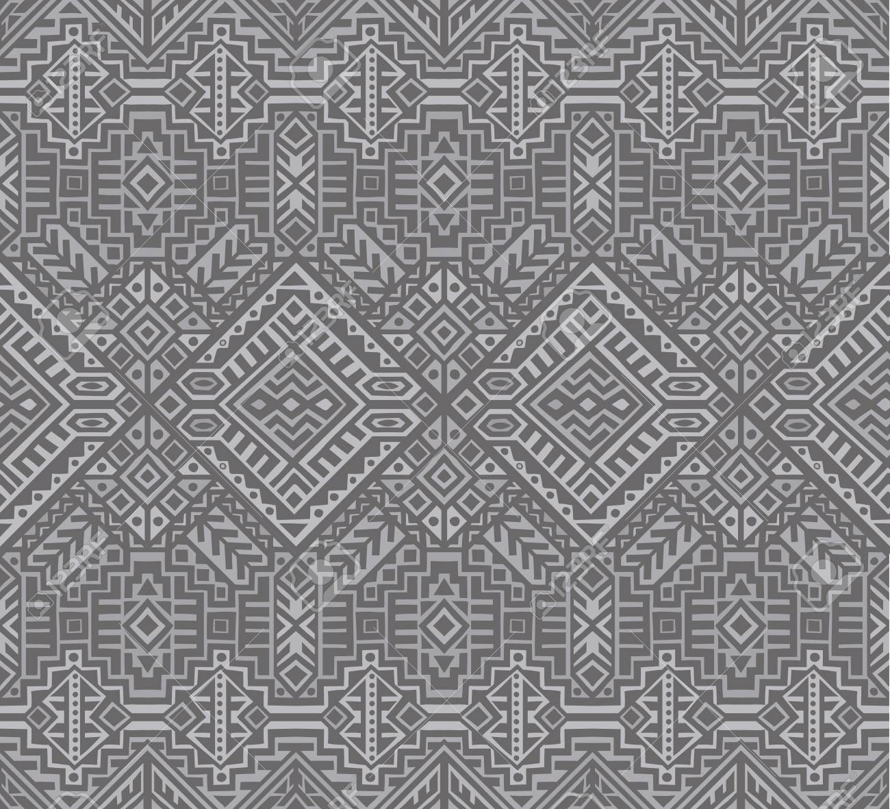 Simmetric seamless pattern in ethnic style. Tribal geometric ornament, perfect for textile design, site background, wrapping paper and other endless fill. Trendy boho tile. - 111793823