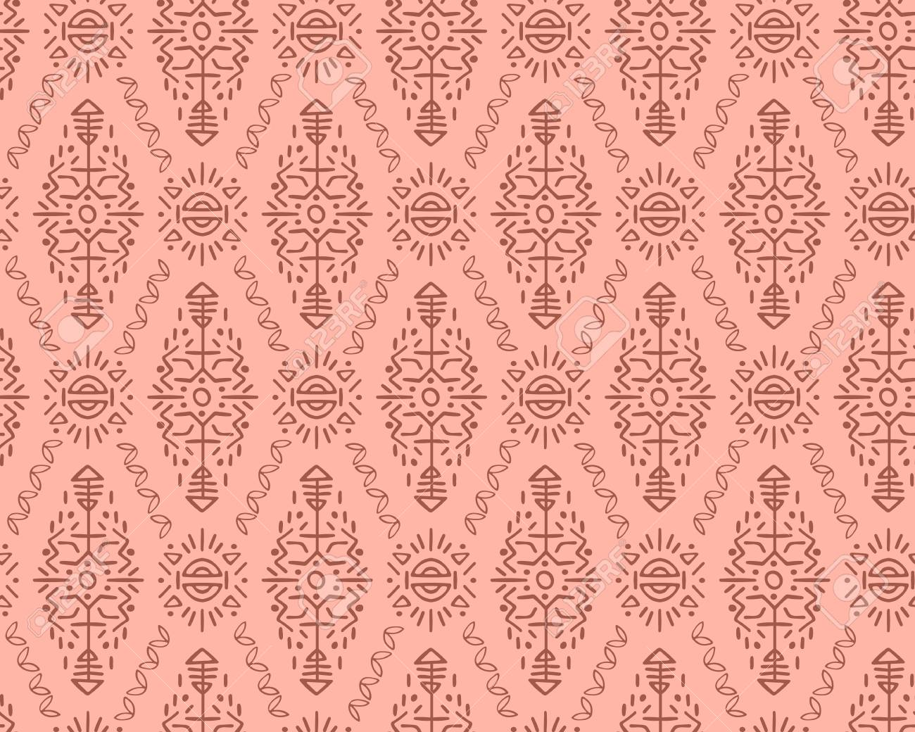 Vector Seamless Pattern in Ethnic Style. Creative tribal endless ornament, perfect for textile design, wrapping paper, wallpaper or site background. Trendy hand drawn boho tile. - 111793989