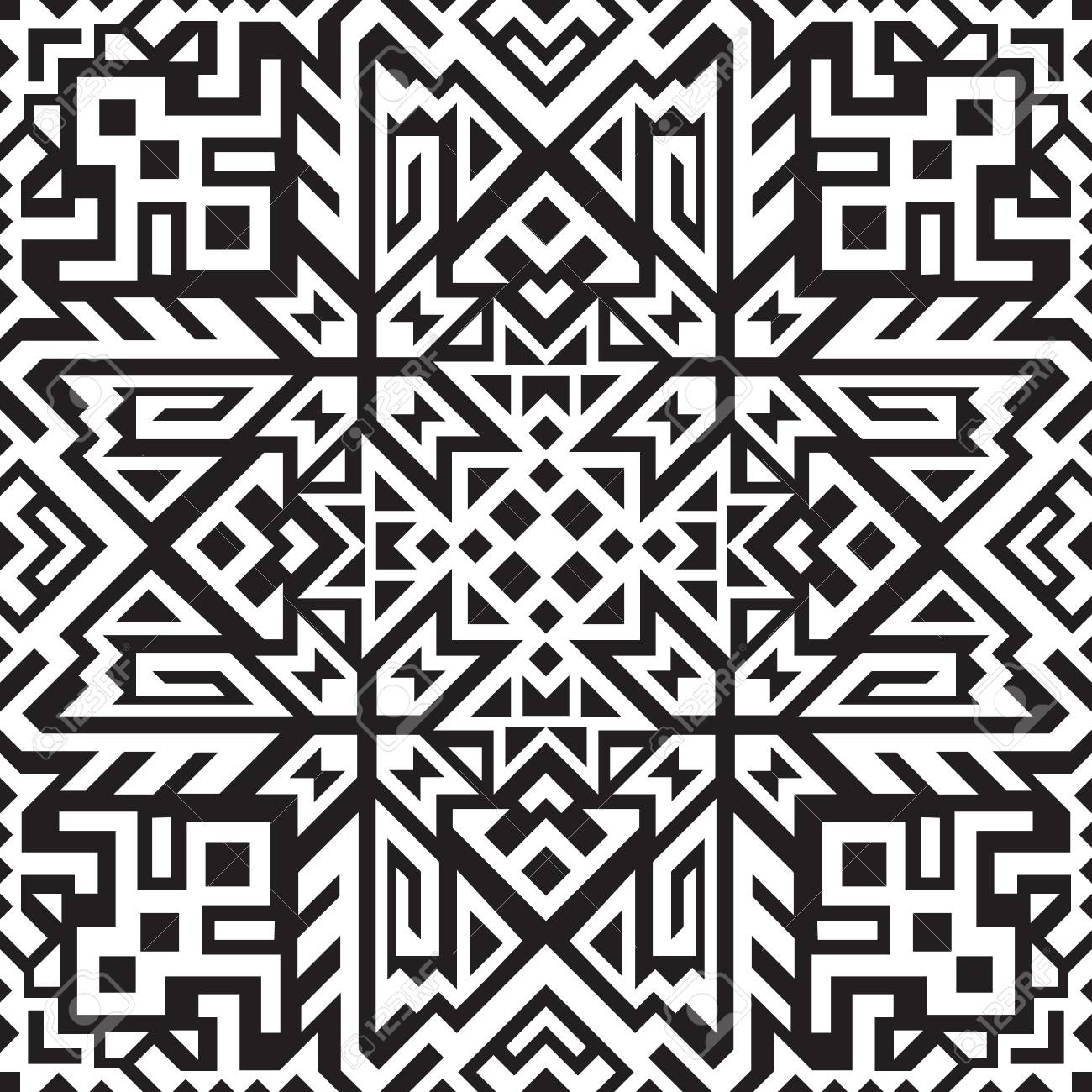 Abstract geometric seamless pattern. Unique scandinavian design. Ethnic style repeat background. Creative tribal vector ornament. Trendy art tile. - 120430689