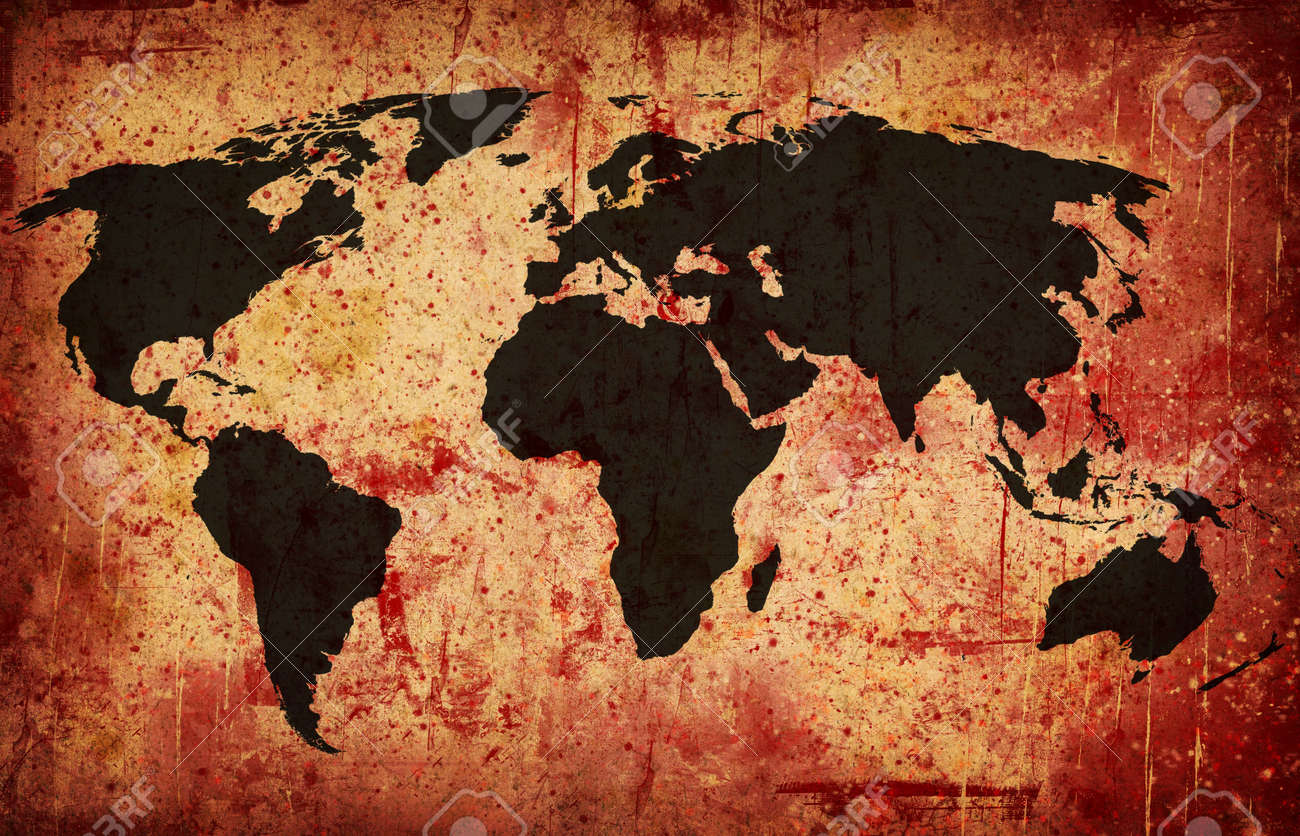 Computer designed grunge world map background Stock Photo - 7330027