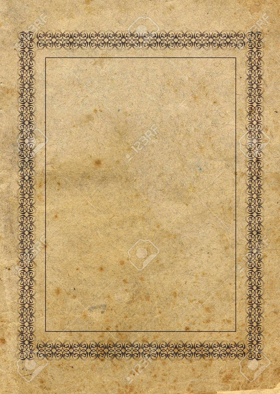 highly detailed textured vintage paper with victorian style border