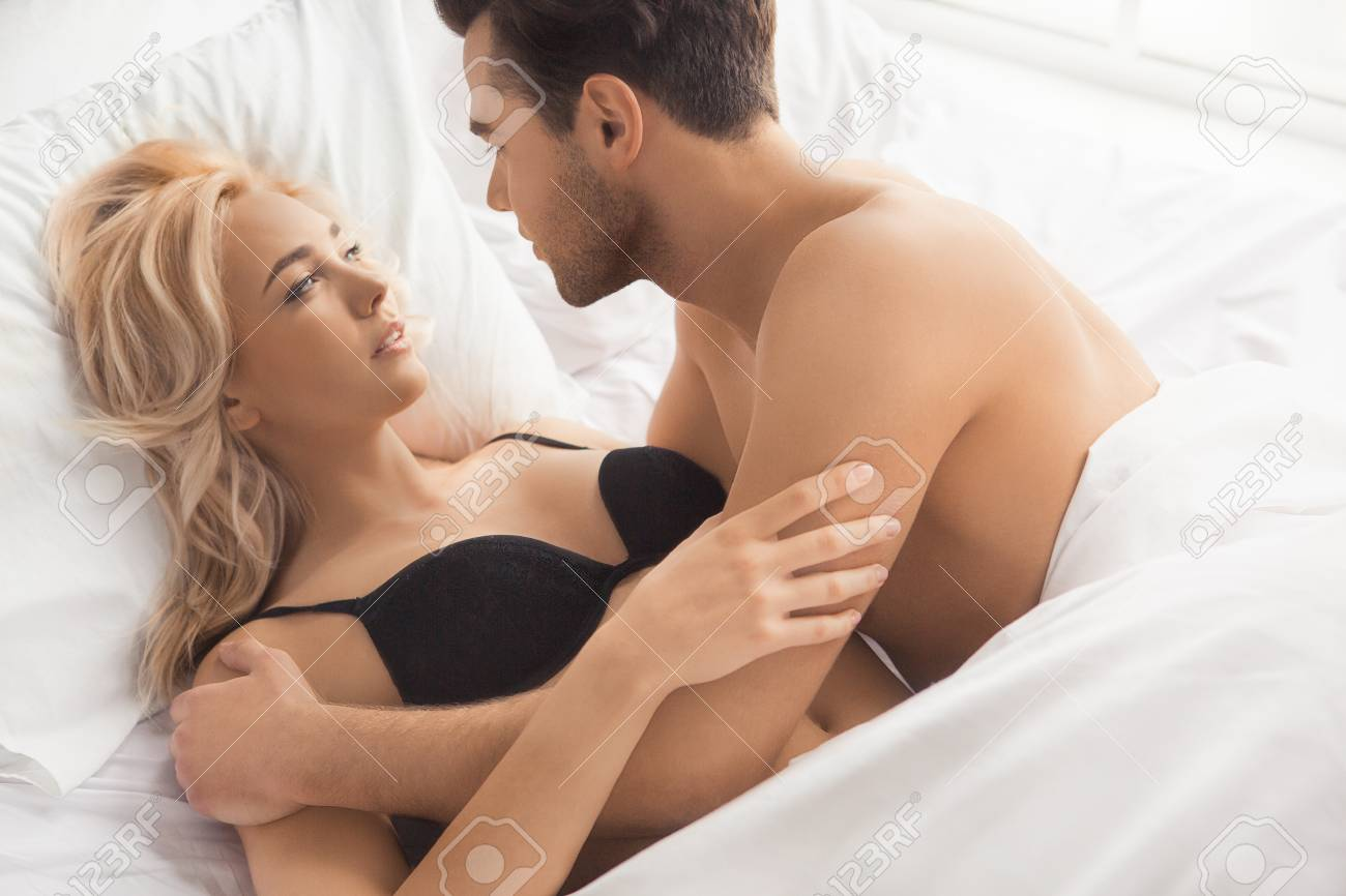 Stock Photo Young Couple Intimate Relationship On Bed Passion