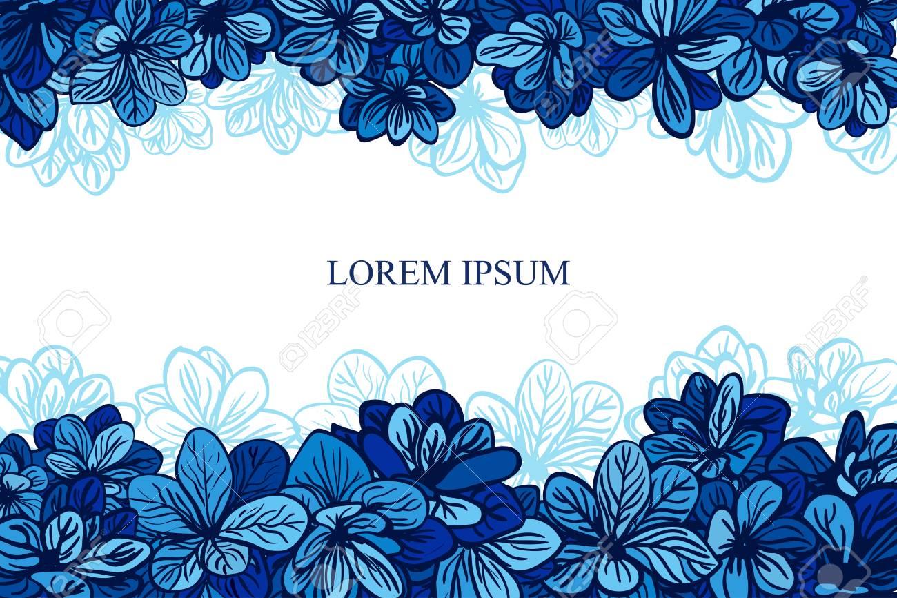 Tarjeta Con Las Flores Azules Invitación De Boda