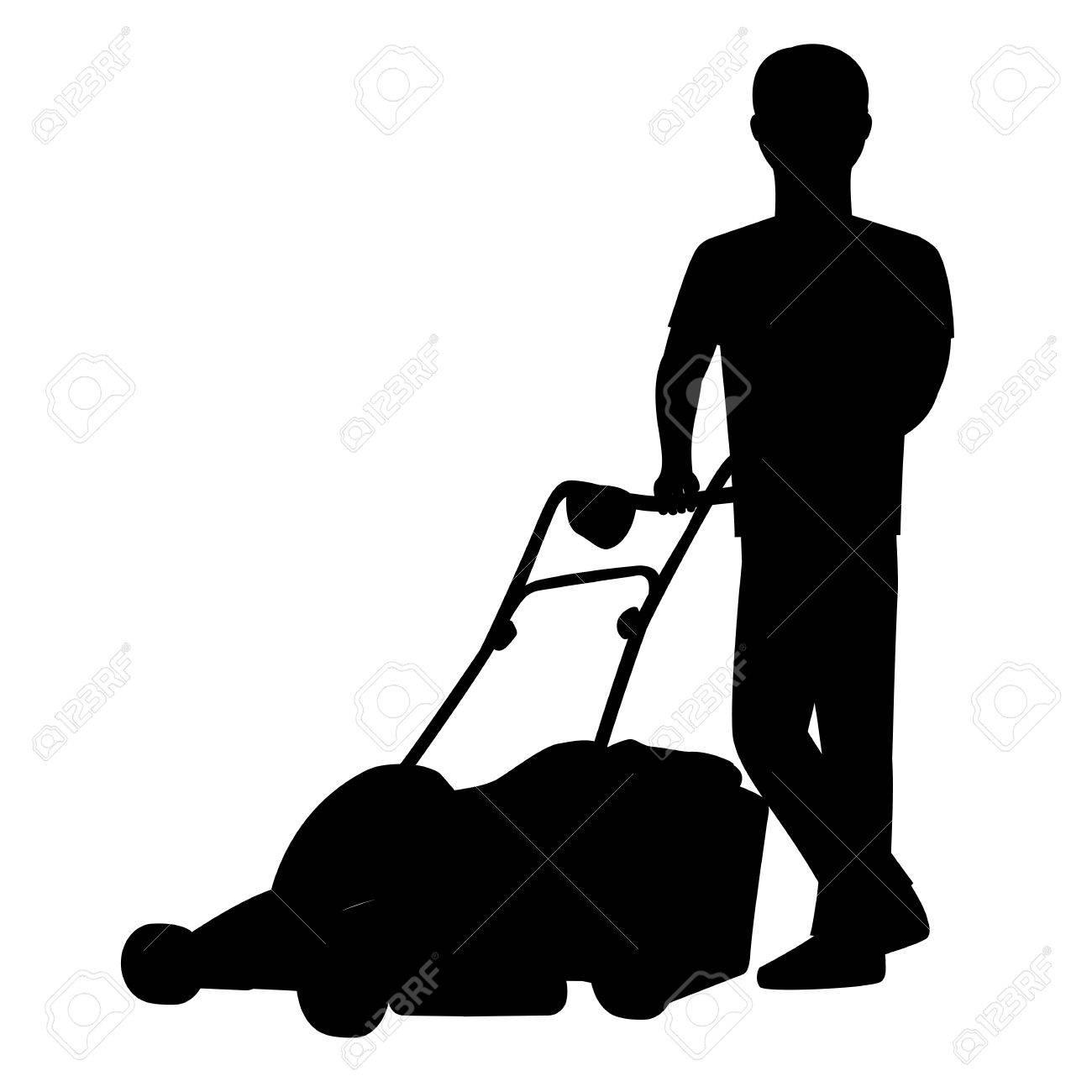 man cutting the grass with lawn mower vector silhouette graphic rh 123rf com Yard Maintenance Clip Art yard work clipart