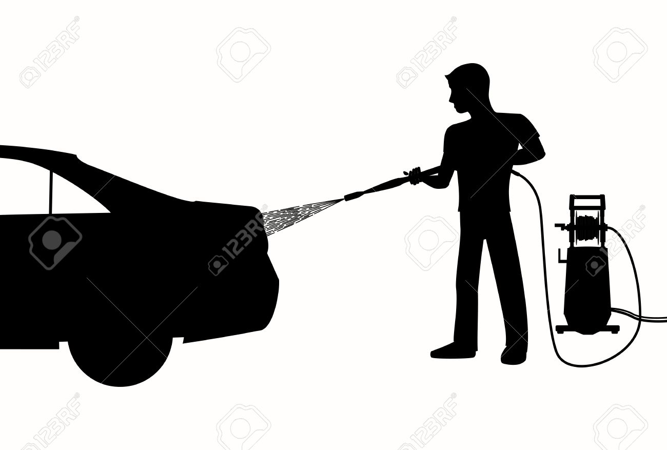Silhouette of Man washing a car with high pressure washer. Spraying water from the hose. black and white illustration of car wash. - 56795392