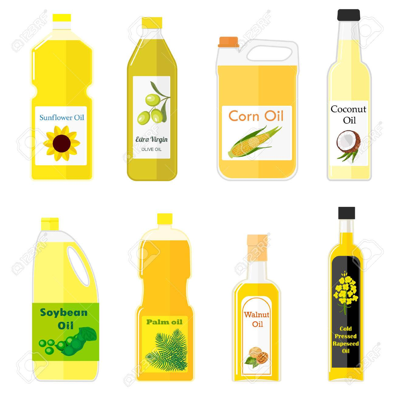 set of pictures of different types of oil for cooking. Colorful illustration in flat style. Group bottles of oil for frying - 56795387