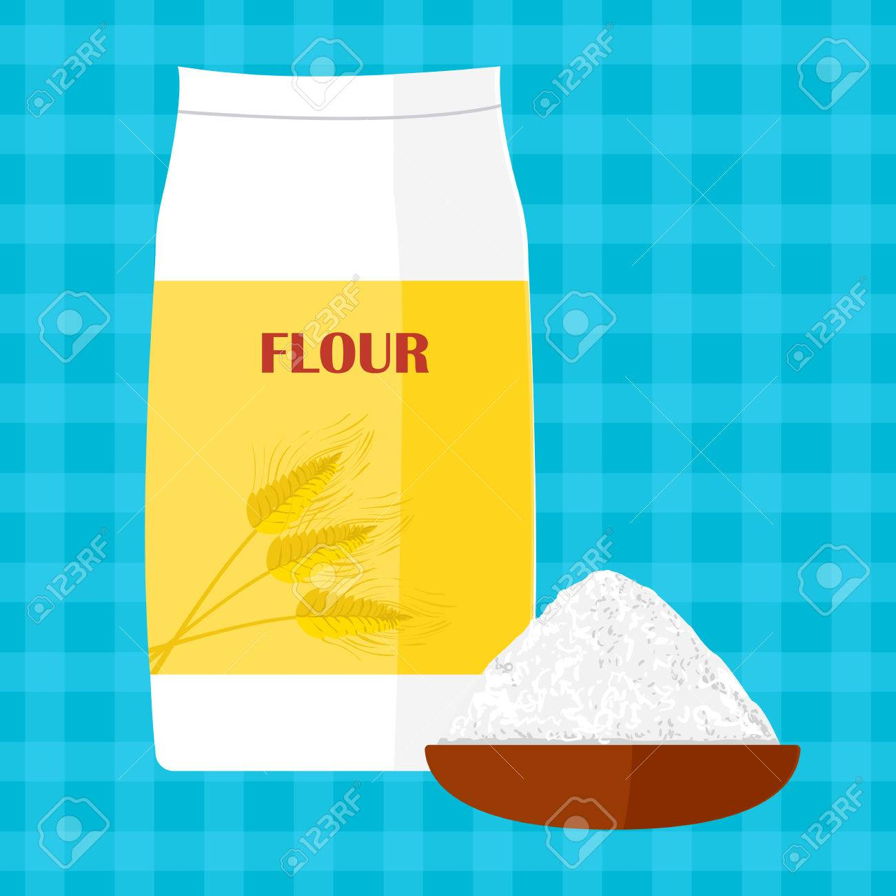 Colorful Illustration Of Package Of Flour. Baking And Cooking ...