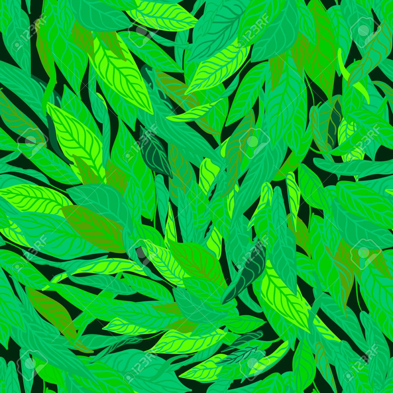 Colorful Seamless Background With Green Leaves Modern Illustration Can Be Used For Wallpaper