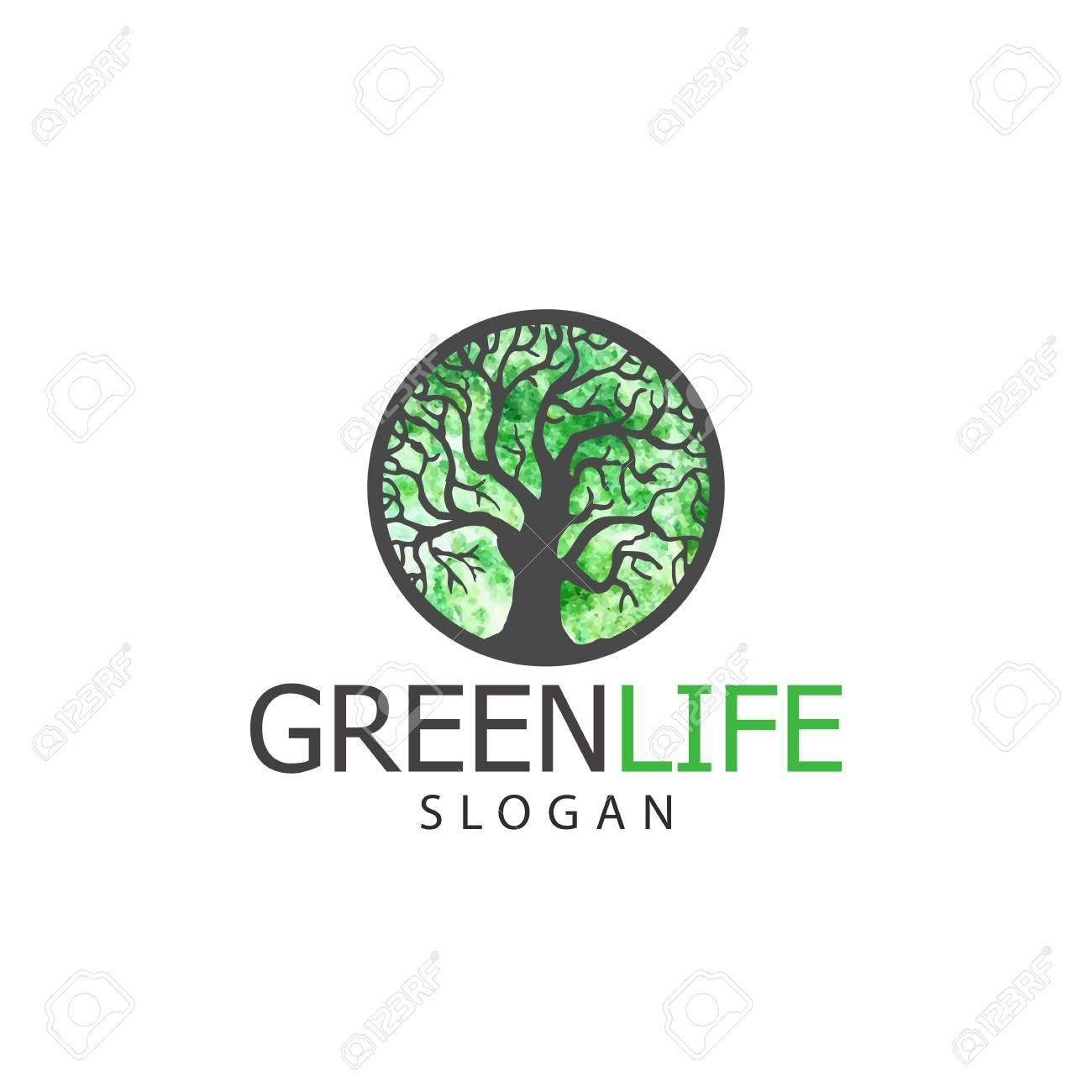 vector illustration og tree logo or icon design template badges