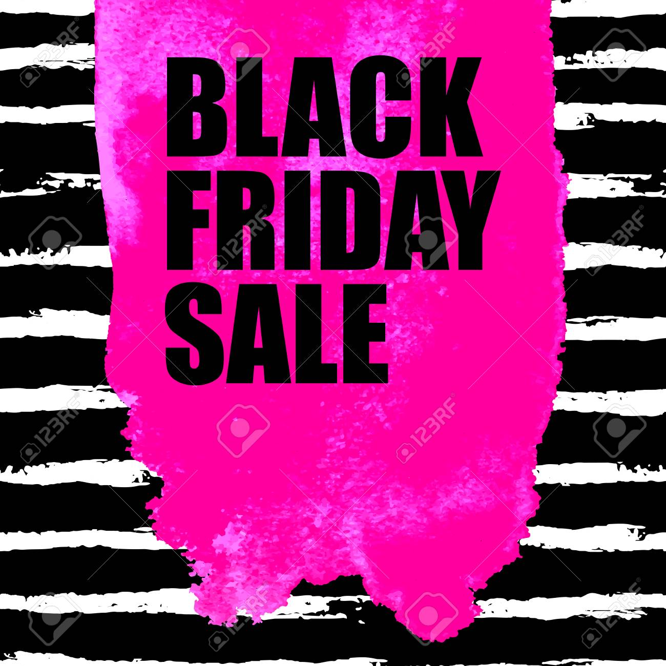 379454baf28 A Vector illustration of Black Friday Sale banner with pink watercolor spot  on dark watercolor brush