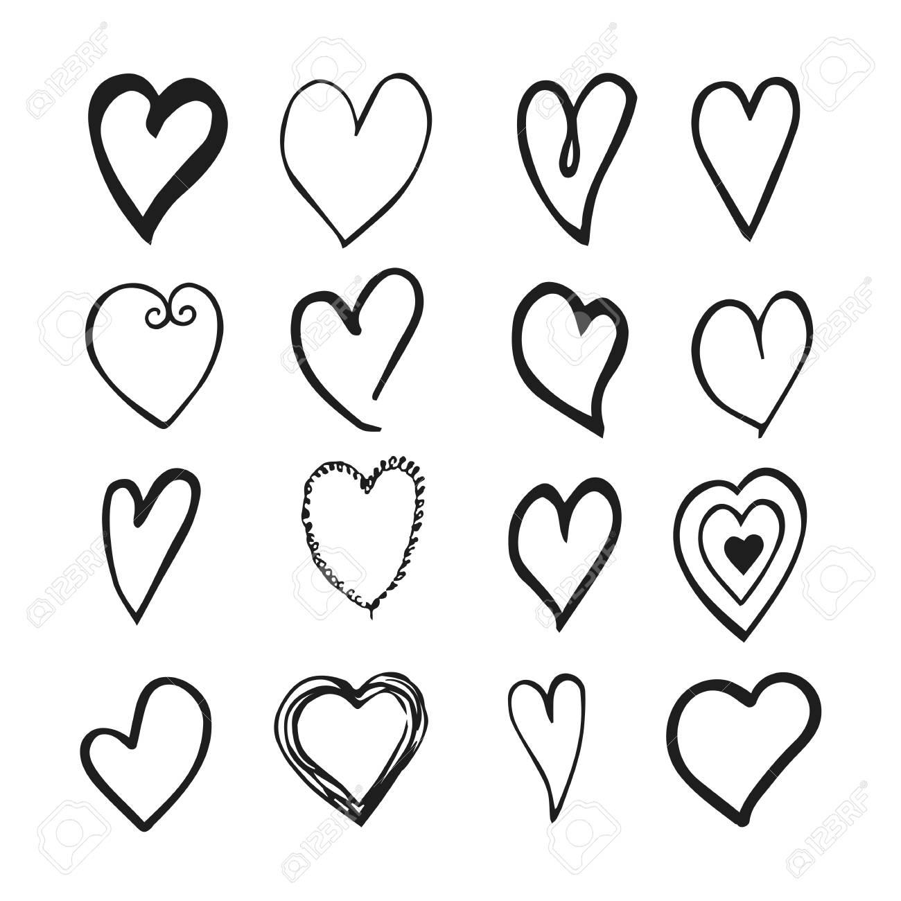 Vector Dibujado A Mano En Blanco Y Negro Con Corazones Elementos De