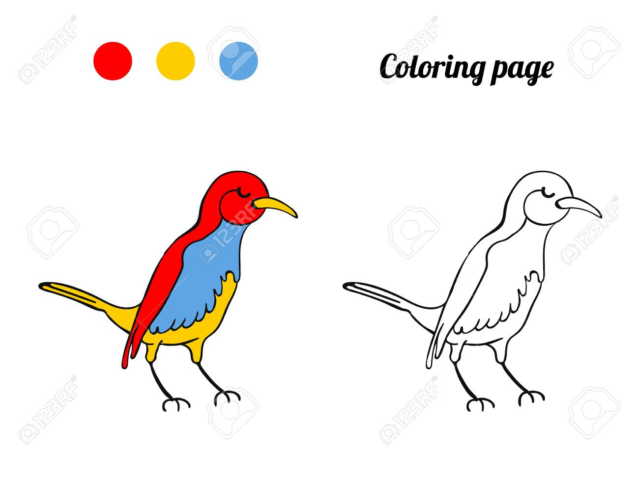 Illustration Of Cute Bird Coloring Page Or Book For Baby Royalty Free Cliparts Vectors And Stock Illustration Image 135215195
