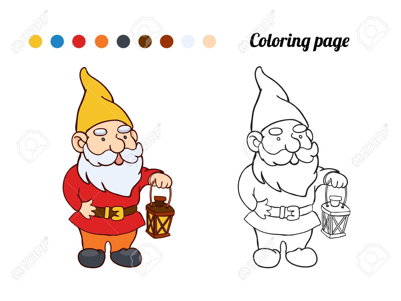 Illustration Of Cute Garden Gnome Coloring Page Or Book For Royalty Free Cliparts Vectors And Stock Illustration Image 136781922