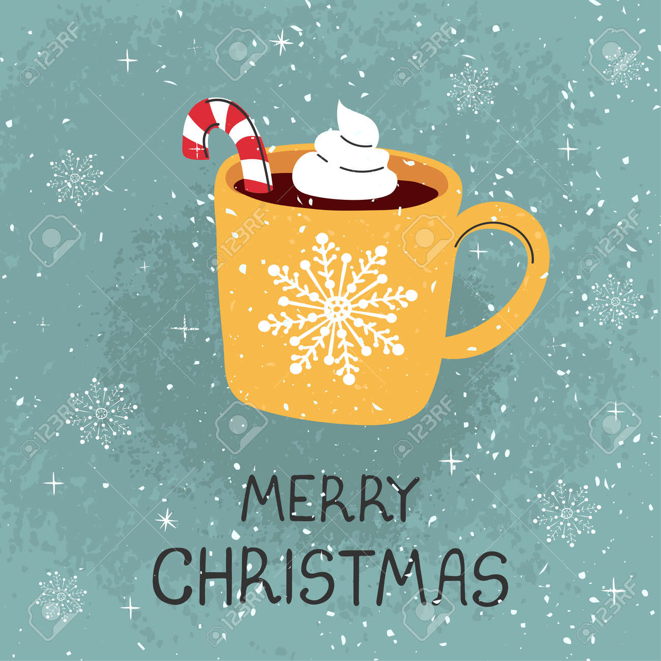 Vector modern greeting card with colorful hand draw illustration of mug with cocoa and Christmas cane. Merry christmas. For design poster, card, banner, t-shirt print, invitation, greeting card - 157362836