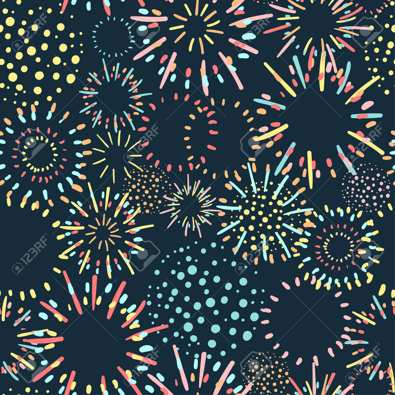 Seamless colorful background with fireworks on dark background - 165808987