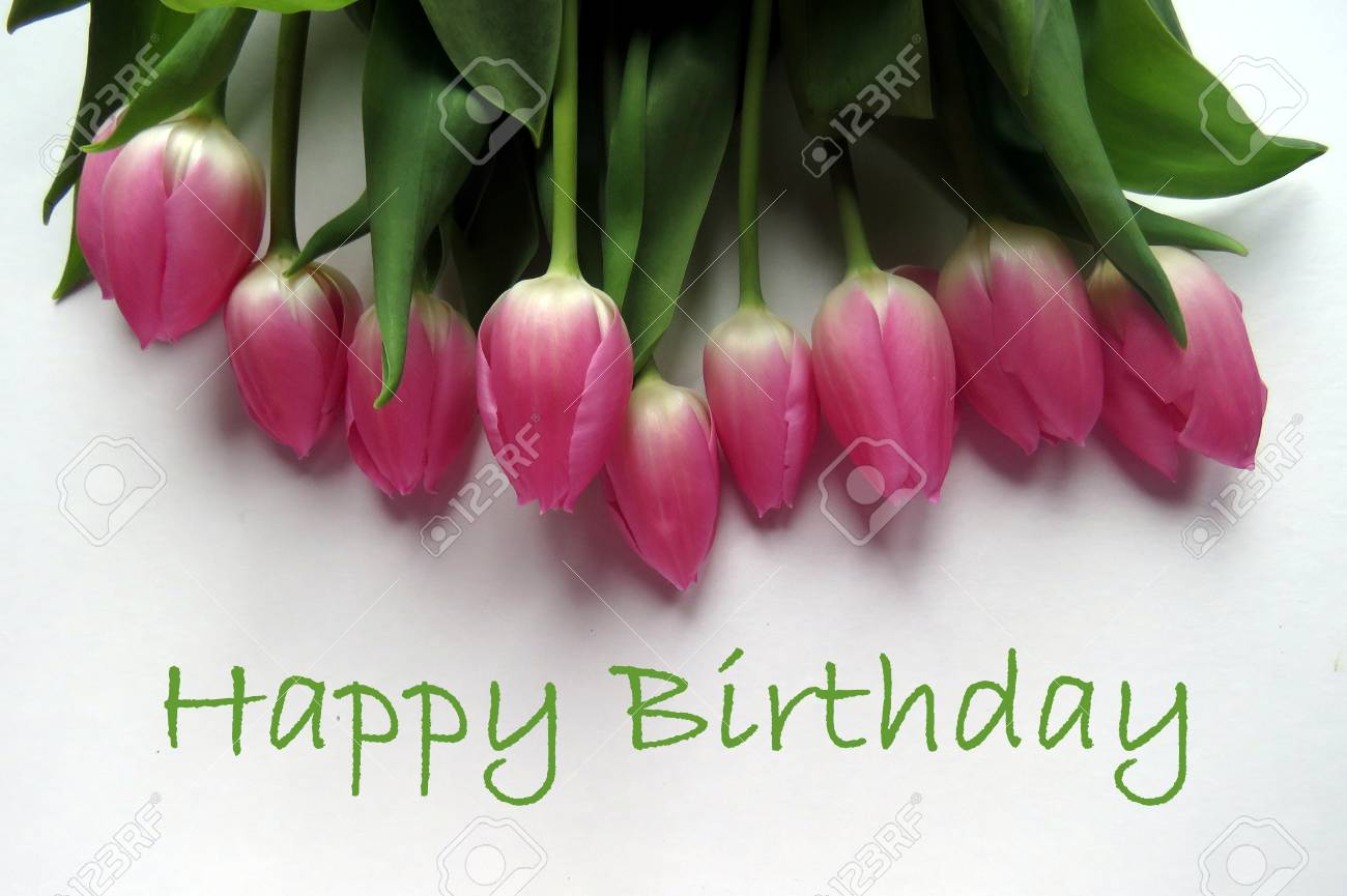 Happy birthday in green text with bunch of pink tulips stock photo happy birthday in green text with bunch of pink tulips stock photo 56142404 izmirmasajfo