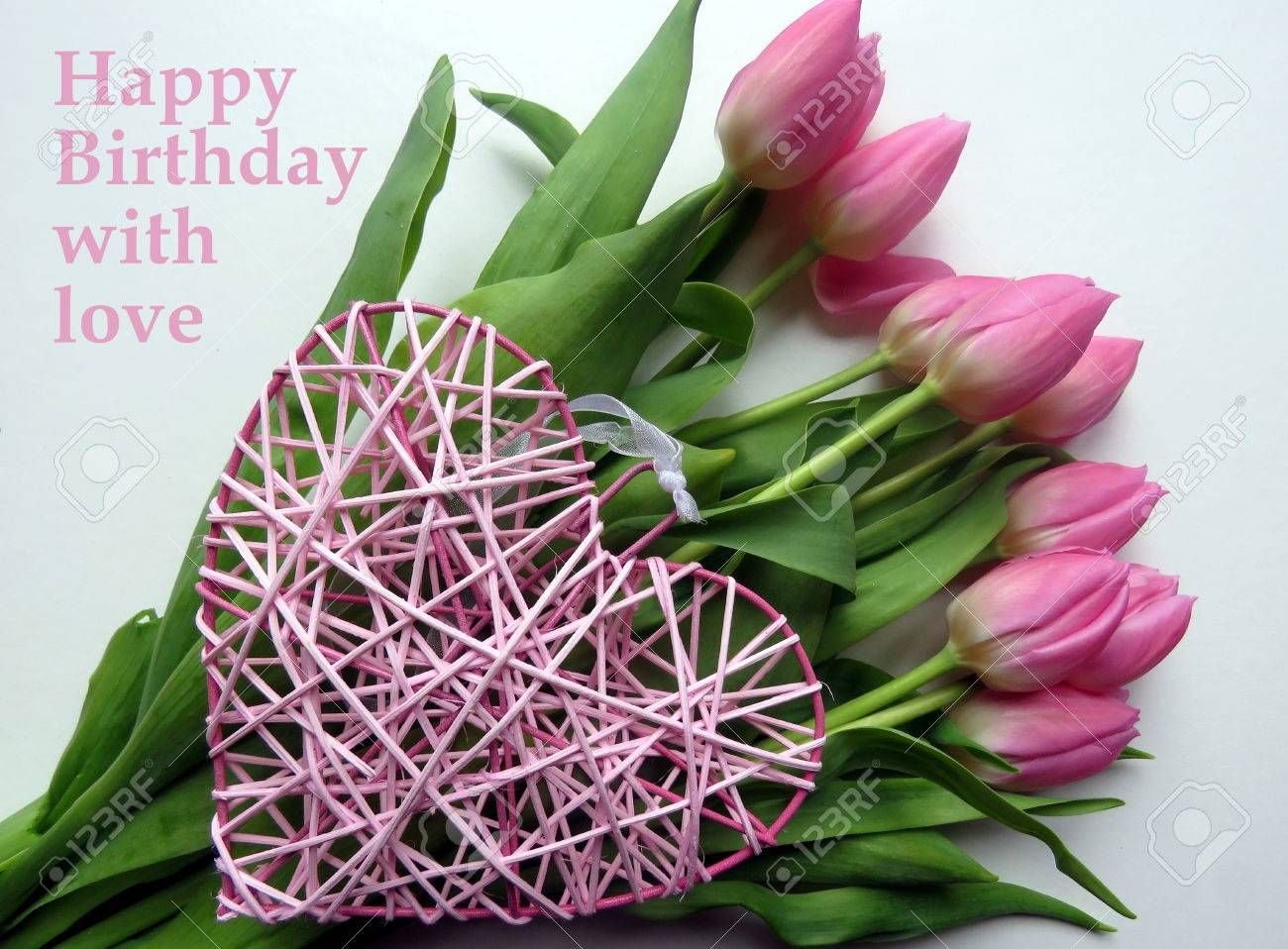 Happy birthday with love in pink text with bunch of pink tulips happy birthday with love in pink text with bunch of pink tulips and pink izmirmasajfo