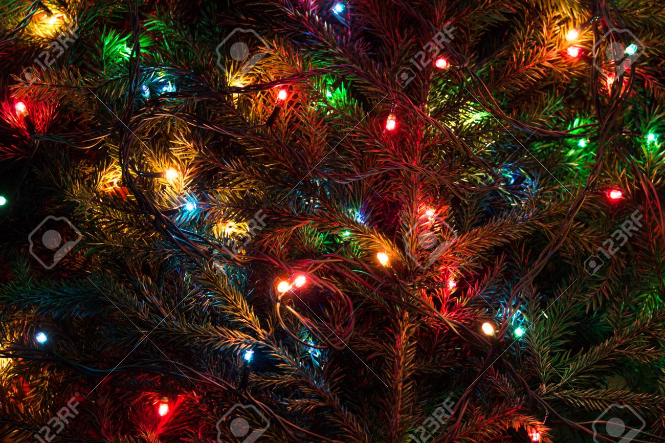 Colored Christmas Lights On A Christmas Tree Stock Photo Picture And Royalty Free Image Image 34041104