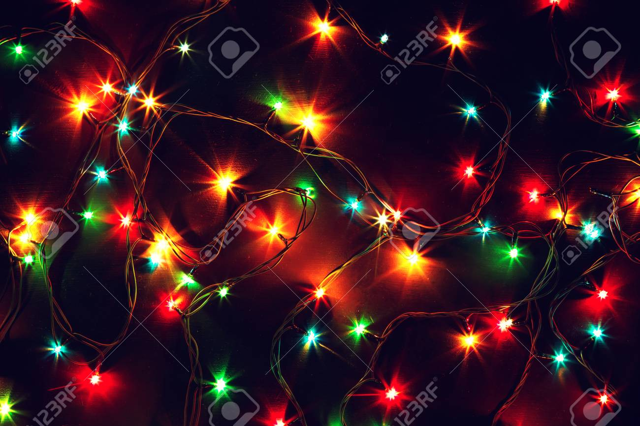 Colorful Christmas Lights Background.Colorful Christmas Lights On A Black Background Christmas And