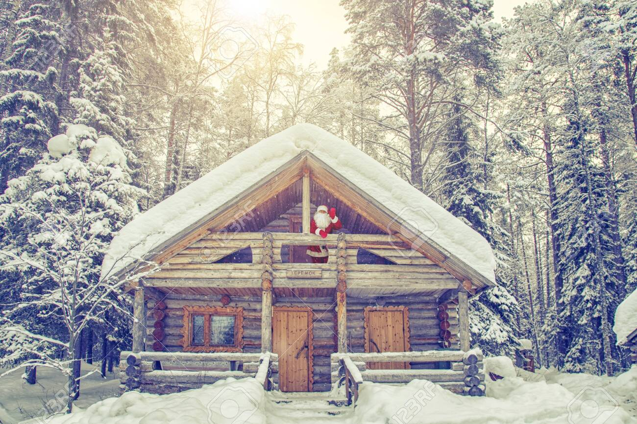 Home of Santa Claus at the North Pole. Real Santa Claus on the balcony in his house. - 122820911
