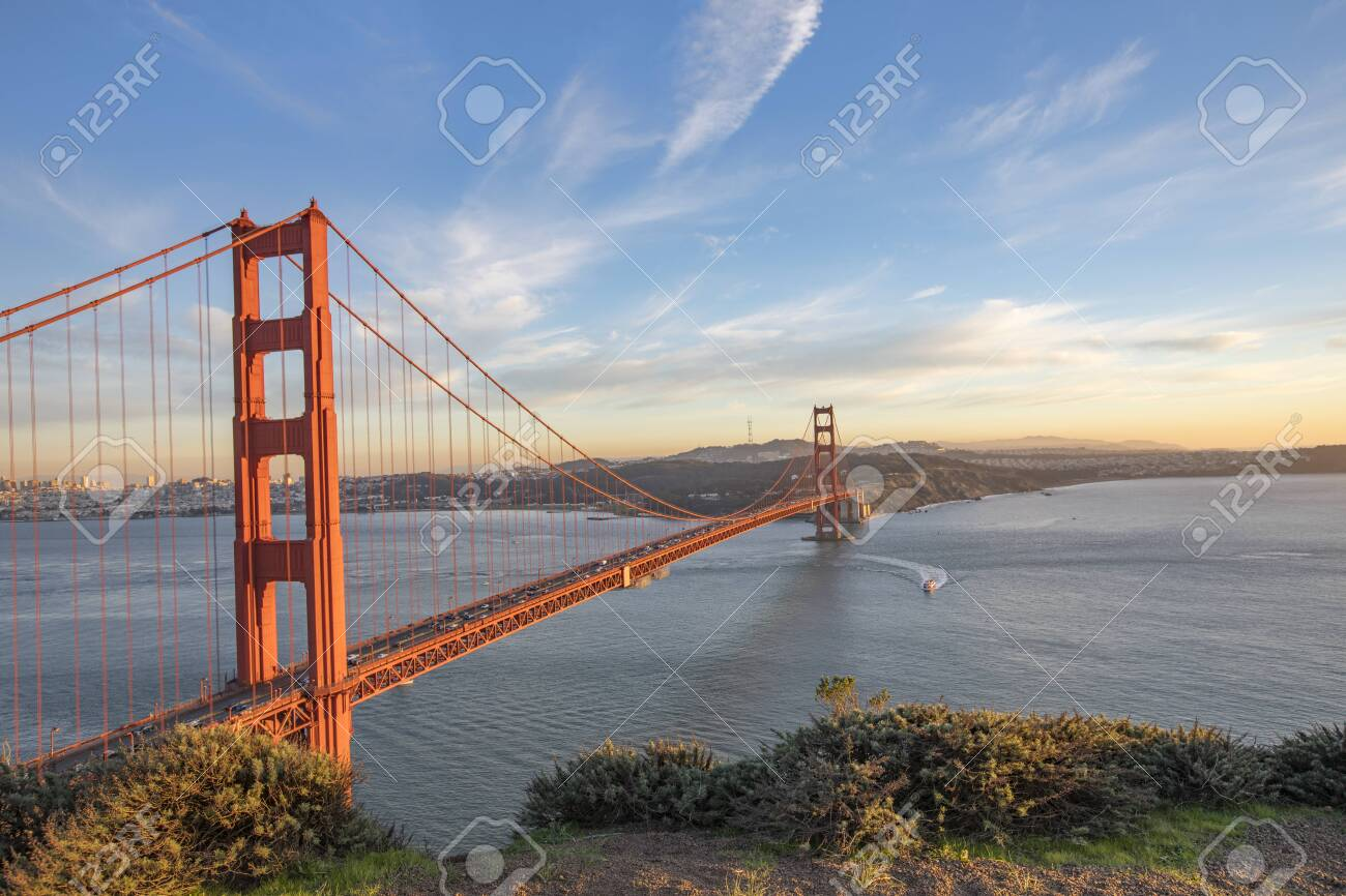 The Golden Gate Bridge at sunset - 141296746
