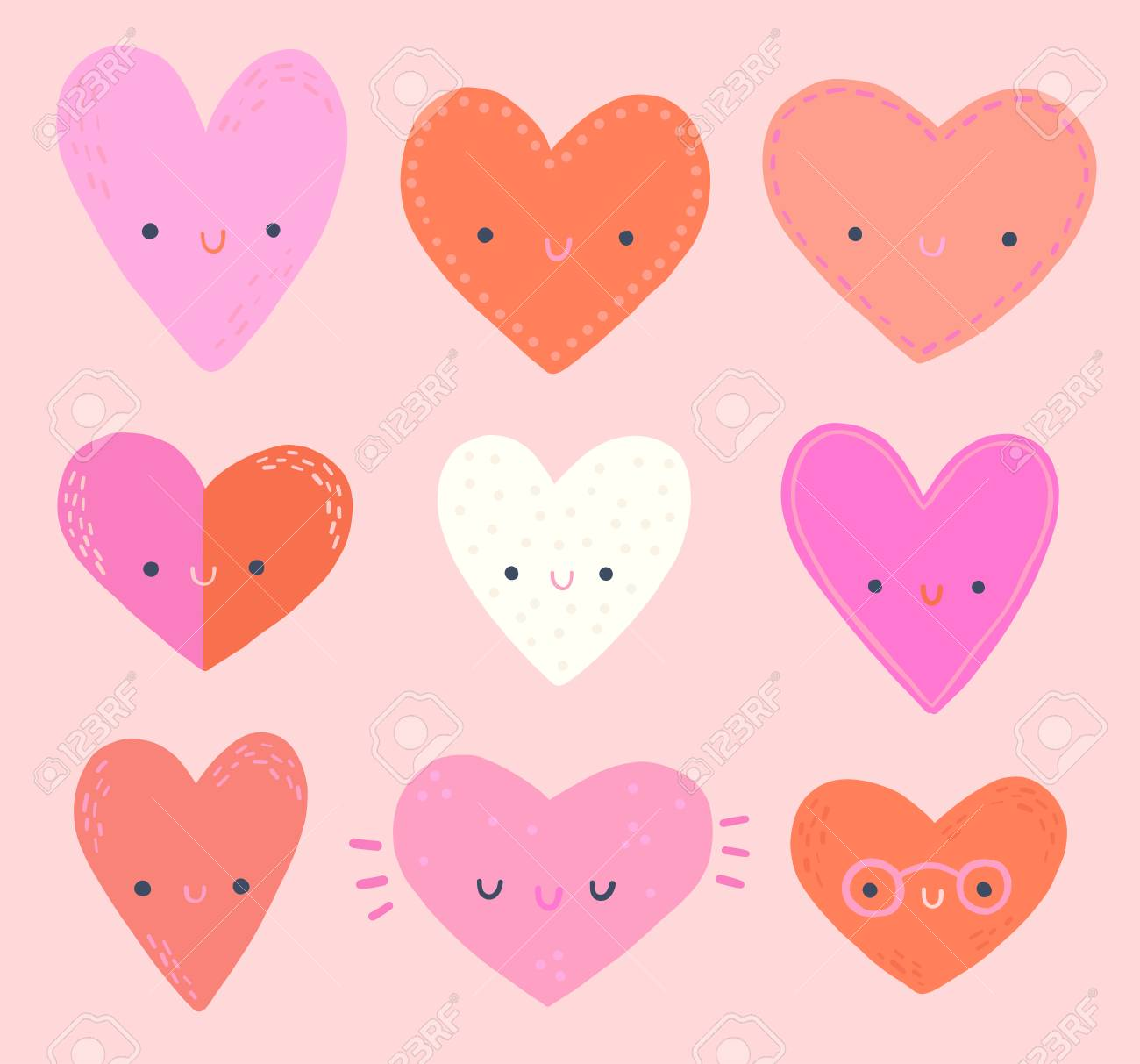 cute heart emoji faces clip art set royalty free cliparts, vectors