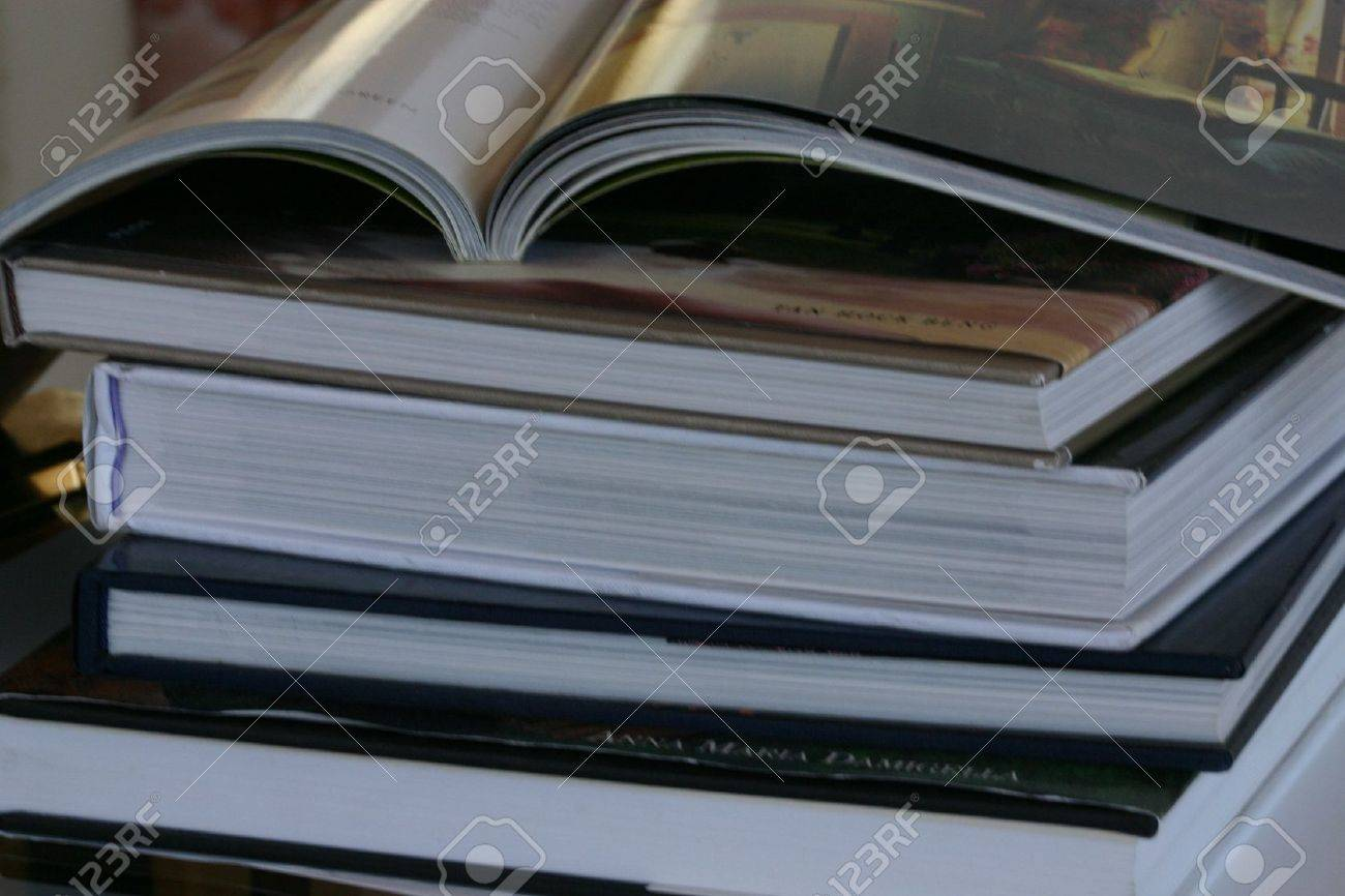 A Stack Of Coffee Table Books Stock Photo Picture And Royalty