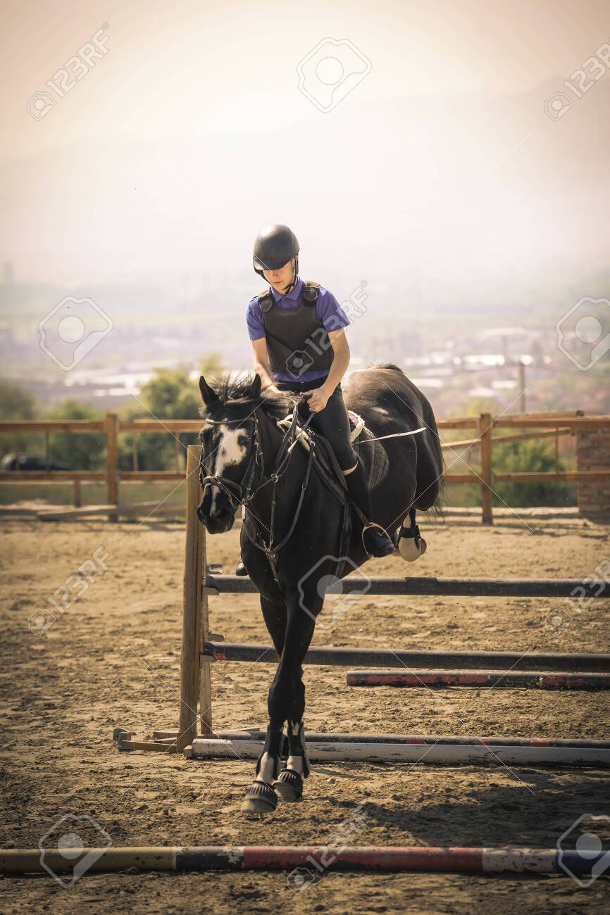 Equestrian Sports Black Horse Approaching The Jump Shooting Stock Photo Picture And Royalty Free Image Image 119846952