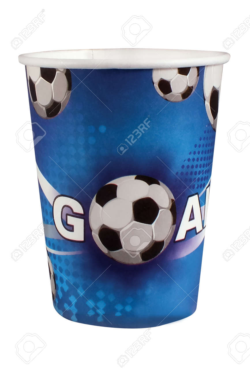 Multicolored striped cardboard cup for children's birthday on white background. Party cup made from cardboard in colorful concept - 165473067
