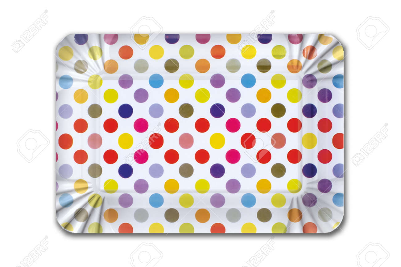 Multicolored striped cardboard plate for children's birthday on white background. Party dish made from cardboard in colorful concept - 165473069