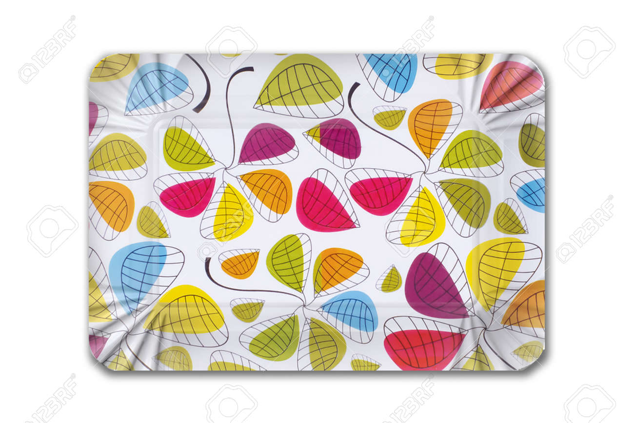 Multicolored striped cardboard plate for children's birthday on white background. Party dish made from cardboard in colorful concept - 165481669