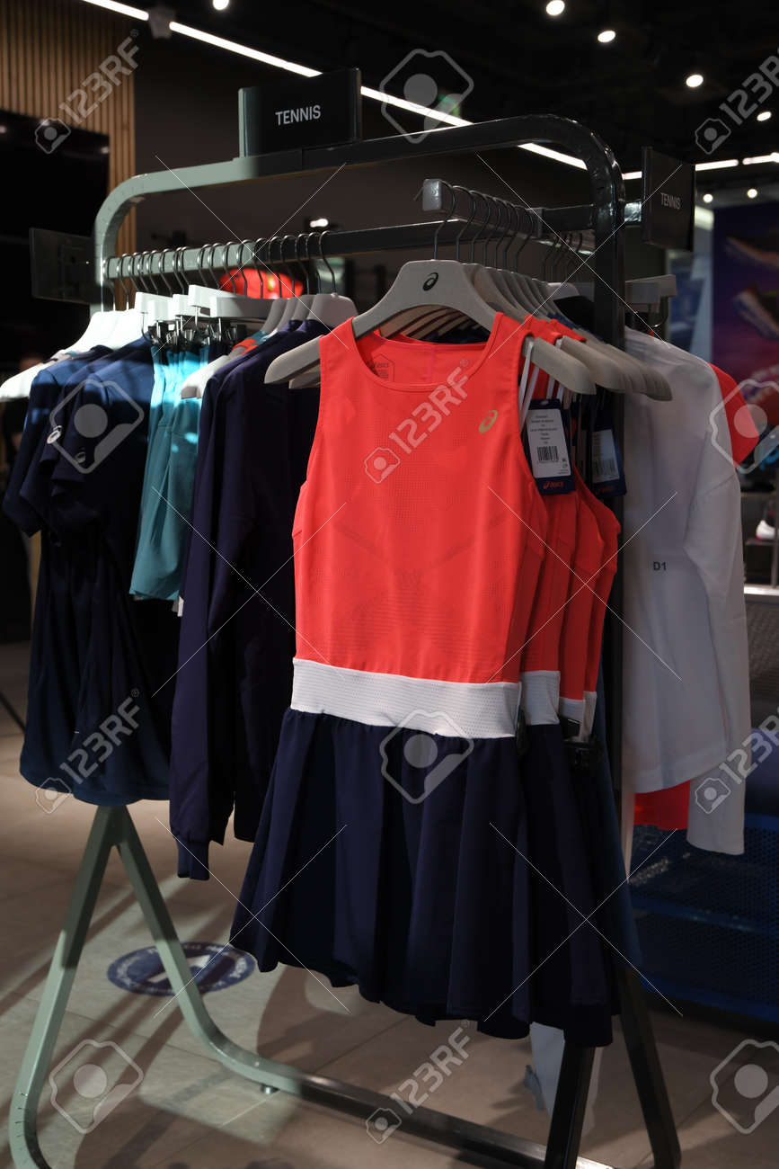 Skopje, North Macedonia - March 12, 2021: Asics store in Skopje, North Macedonia. Asics is a Japanese multinational company which produces footwear and sports equipment - 166164700