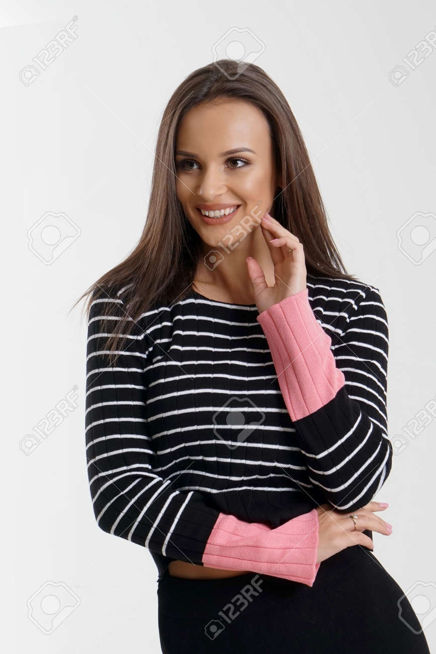 Portrait of an emotionally beautiful woman laughing while looking to the side. Beauty face portrait. Beautiful model girl with perfect fresh clean skin. Concept for youth and skin care - 166482586