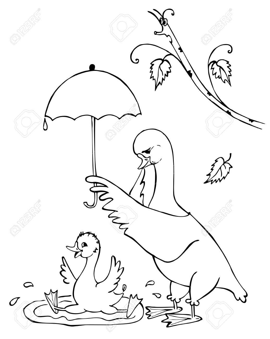 Coloring Book Mother Goose Holds An Umbrella Over Her Son Who Bathes Black And White Illustration