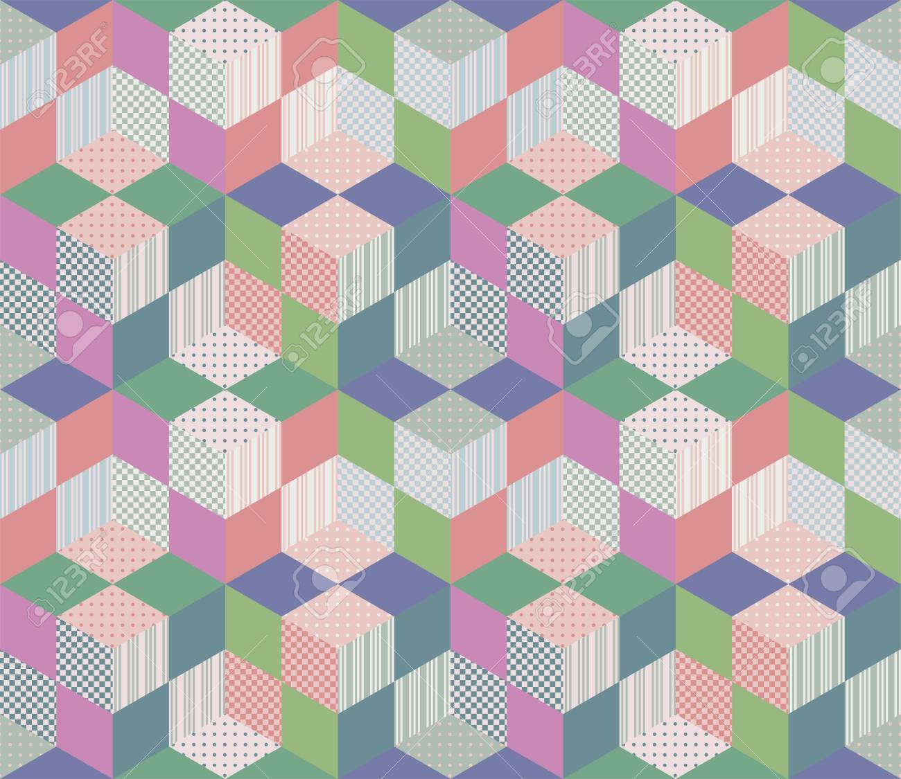 Seamless geometric patchwork pattern. Vector illustration of quilt. - 50750330