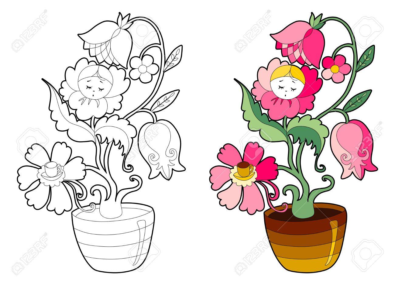Libro Para Colorear Con Planta De Interior De Hadas. Ilustración ...