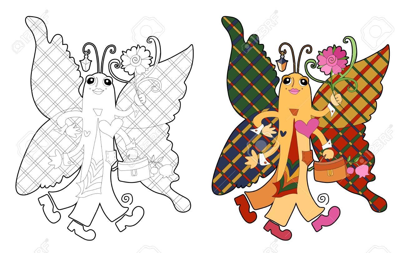 Libro De Colorear Con Hermosa Mariposa. Ilustración De Vector De ...