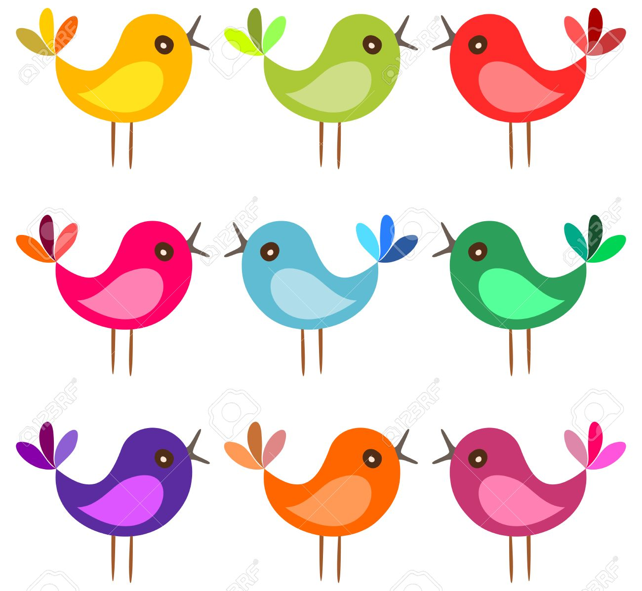 cute colorful birds cartoon birds sing on white background