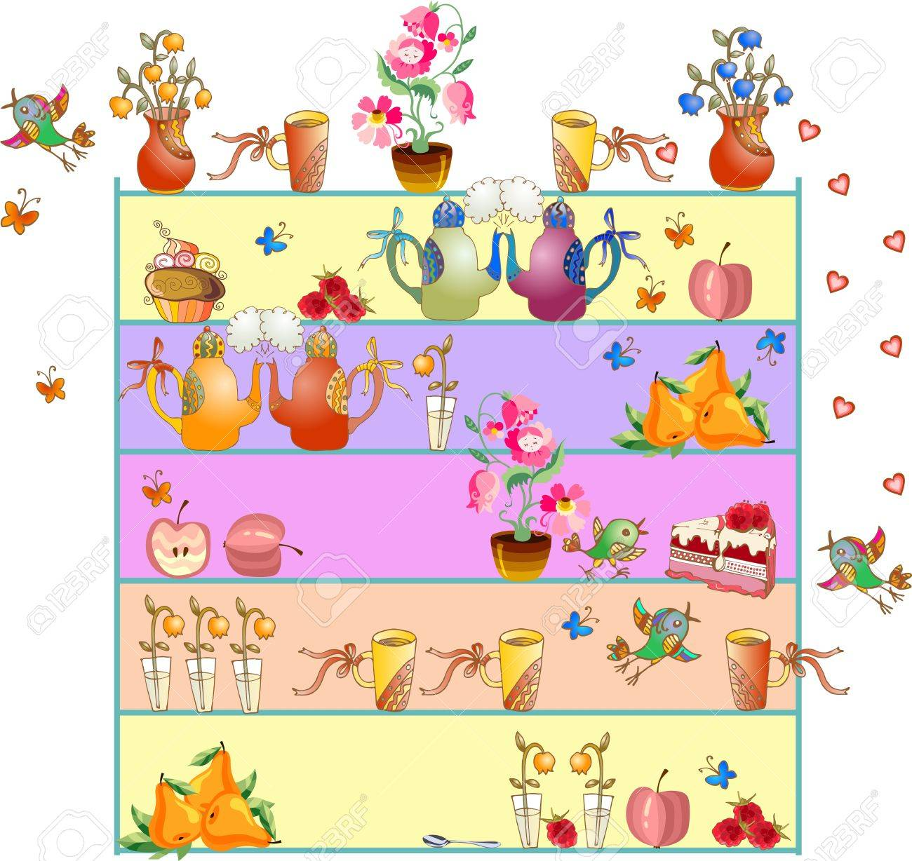 Regale Mit Teekannen Teetassen Blumen Apfel Birnen Kuchen Fliegende Vogel Und Schmetterlinge Nette Kuchengestaltung Schone Bunte Vektor Illustration Hand Gezeichnet Lizenzfrei Nutzbare Vektorgrafiken Clip Arts Illustrationen Image 54922325