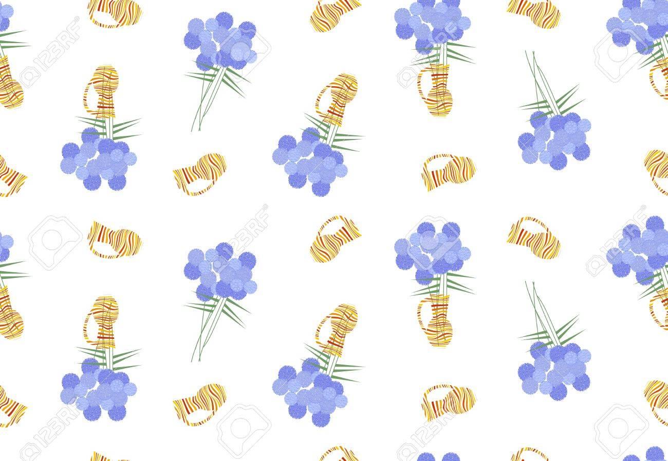 Vettoriale Seamless Floreale Con Fiori Blu E Vasi Arancione Su