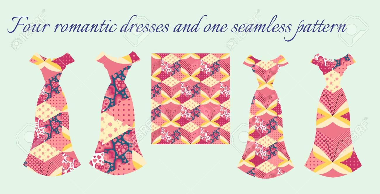 Carte Avec De Belles Robes Féminines Romantiques. Motif De Patchwork Sans  Couture Avec Des Papillons. Conception De Mode Pour La Conception De Cartes  ... a95a7dcfc422