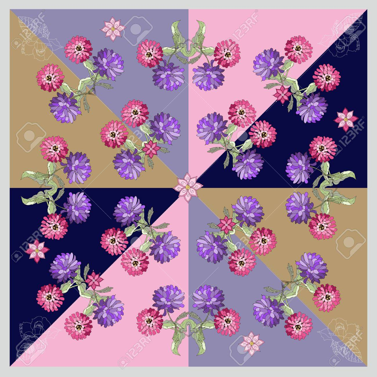 Beautiful bandana print or silk neck scarf with hand drawn flowers. Kerchief square pattern design style for print on fabric. Vector illustration - 55164270