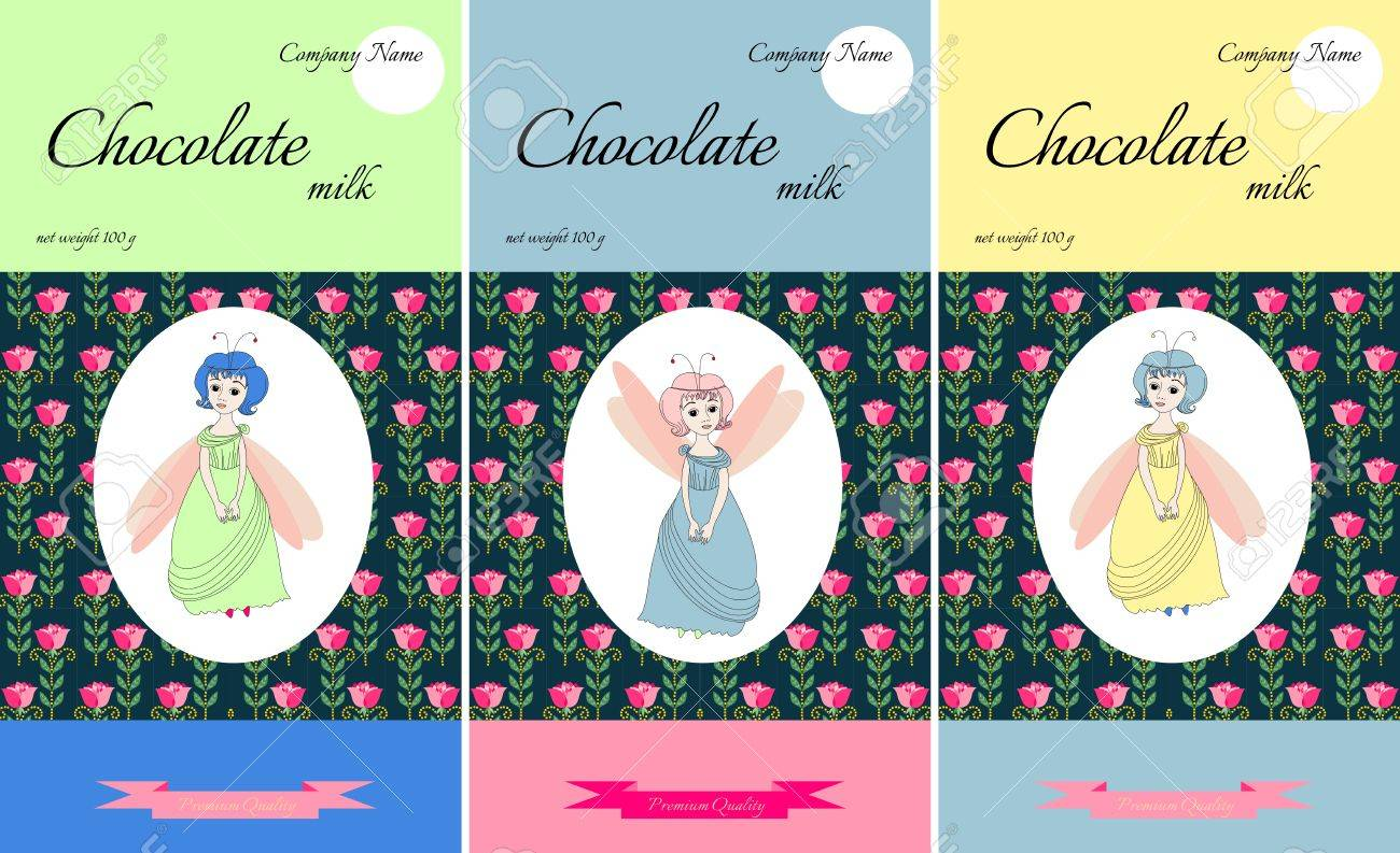 Chocolate packaging design with cute fairies on floral background