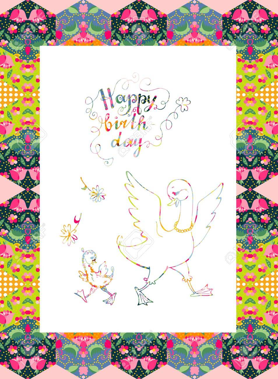 Beautiful Happy Birthday Card Mother Goose With Her Little Child Colorful Ornamental Lines