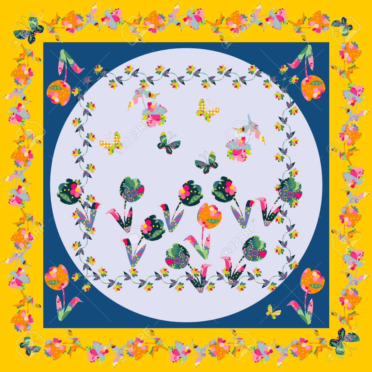 Decorative Motif With Flowers For Napkins, Shawls And ...