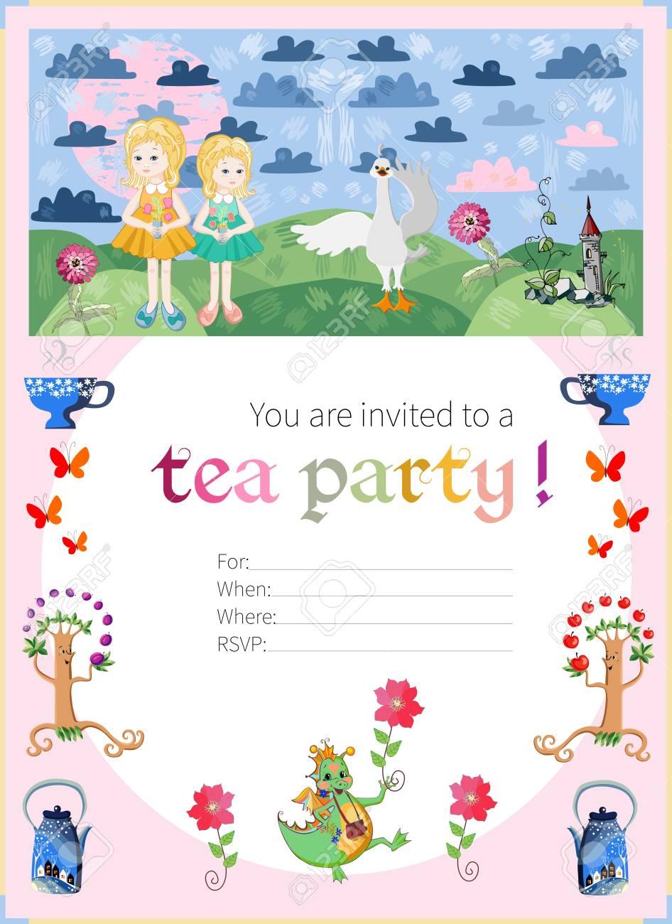 Childish Tea Party Invitation. Fairy Illustration. Cute Vector ...