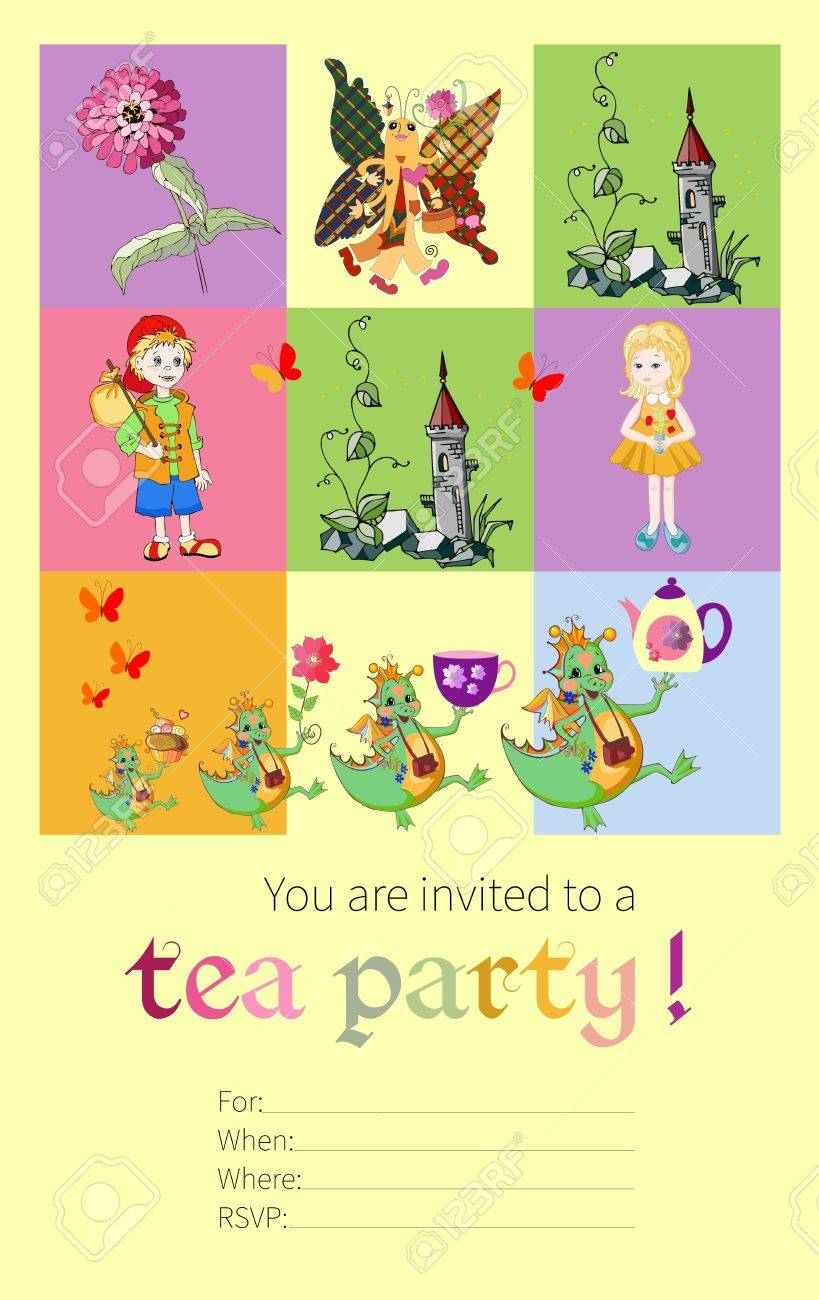 Tea Party Invitation For Kids With Fairy Dragons, Butterfly ...
