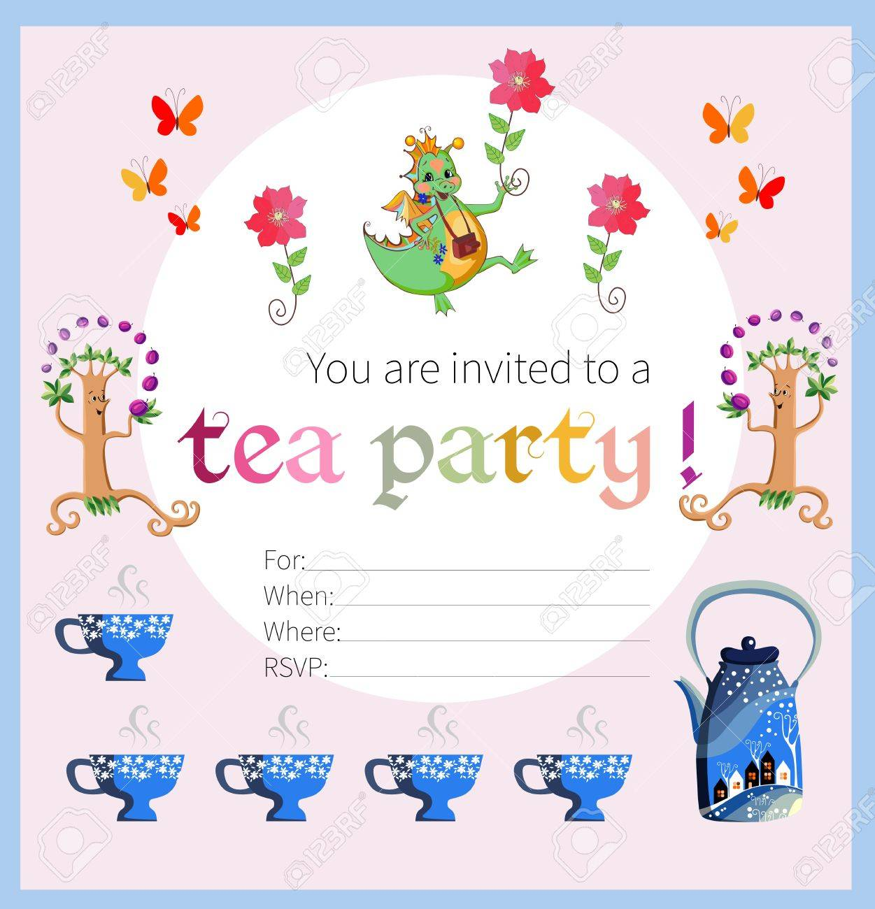Tea Party Invitation For Kids. Card With Happy Dragon, Flowers ...